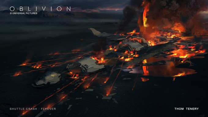 ThomTenery_Oblivion_Concept_Art_Shuttle_Crash