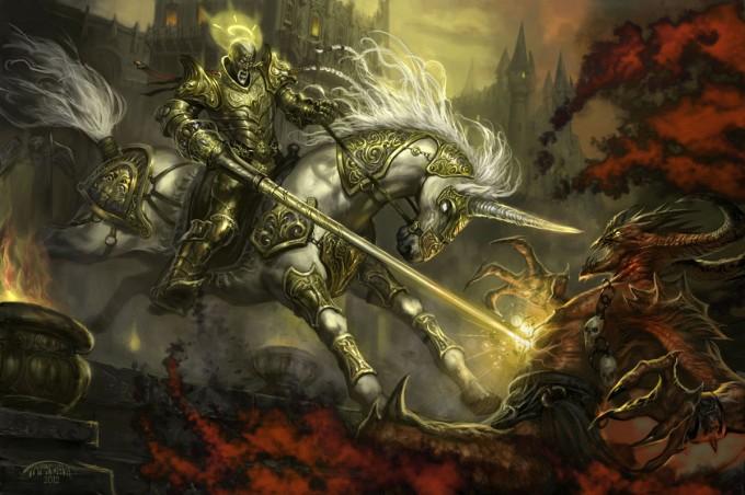 Aasimar_Paladin_on_Unicorn_CW_Targete_Illustration_Concept_Art