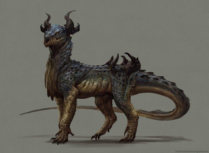 Brent_Hollowell_Creature_Concept_Art_dragon_dude