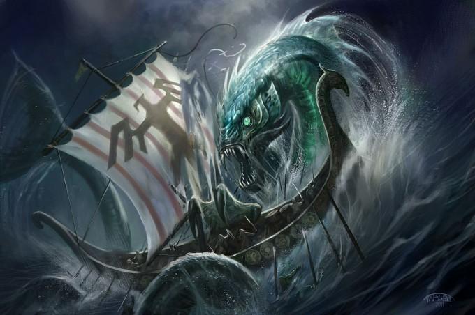 Fjord_Linnorm_attacks_viking_longboat_CW_Targete_Illustration_Concept_Art
