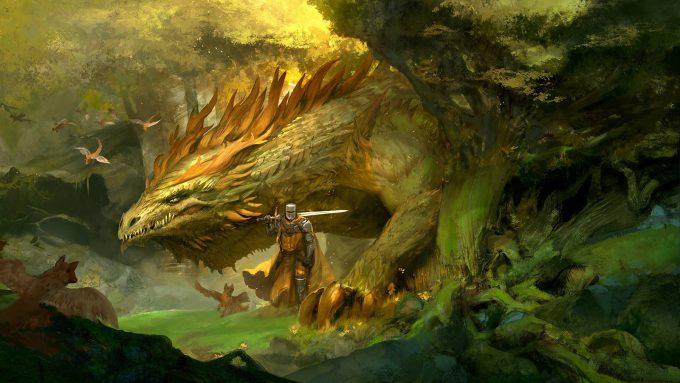 Kekai Kotaki Illustration Knight with Forest Drake