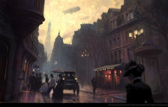 Gilles_Beloeil_Concept_Art_Assassins_Creed_Unity_ev-rue-de-paris-belle-epoque-soir