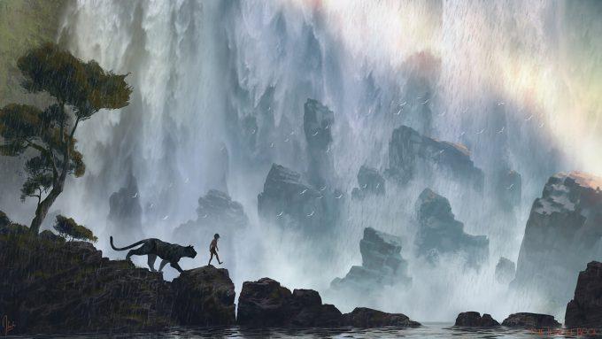 The_Jungle_Book_Concept_Art_JB10_Waterfall_KhanStoryWalk_Bagheera_Mowgli_Sketch_1