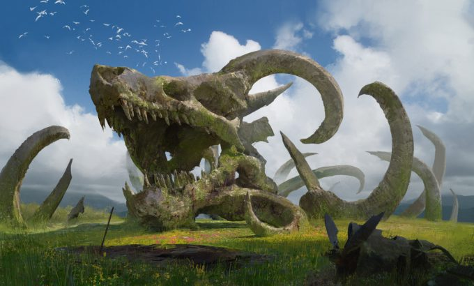 steve wang concept art dragon skull