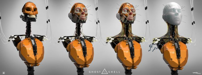 Ghost in the Shell concept art Andrew Baker wip major front
