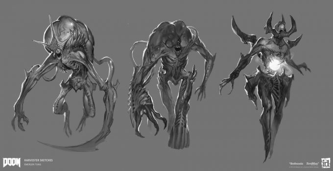 DOOM-2016-Game-Concept-Art-Emerson-Tung-ch-harvester-sketches-1