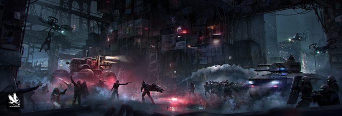 Injustice 2 Concept Art Atomhawk Design Pachinko Gotham Environment 03