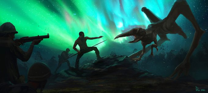 Kong Skull Island Concept Art Eddie Del Rio aurora battle