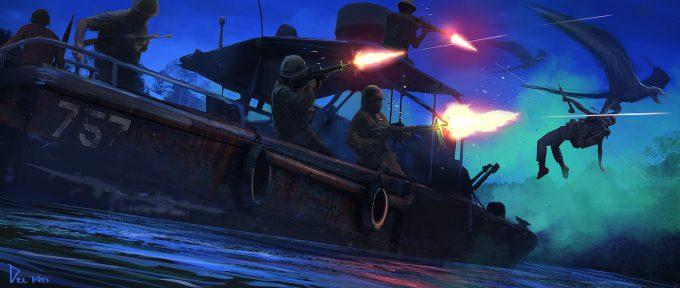 Kong Skull Island Concept Art Eddie Del Rio boat attack