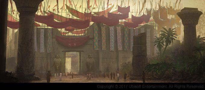 Assassins Creed Origins Concept Art Gilles Beloeil arene crocodilopolis entrance color
