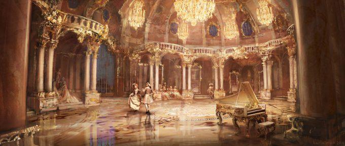 Beauty and the Beast Concept Art Disney Karlsimon Ballroom prologue L