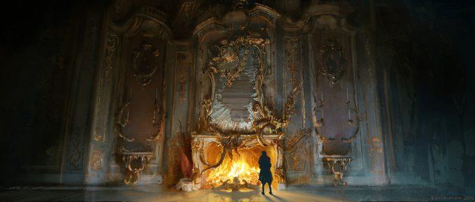 Beauty and the Beast Concept Art Disney Karlsimon Broken mirror fireplace L