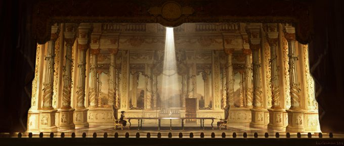 Beauty and the Beast Concept Art Disney Karlsimon Dining room theatre idea L