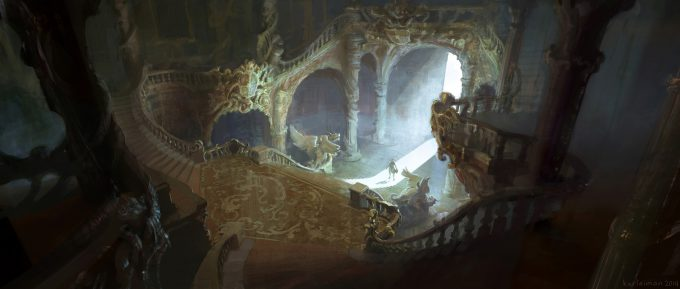 Beauty and the Beast Concept Art Disney Karlsimon Entrance hall reverse angle L
