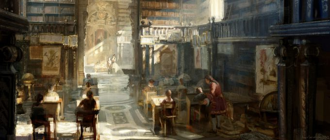 Beauty and the Beast Concept Art Disney Karlsimon Library classroom L