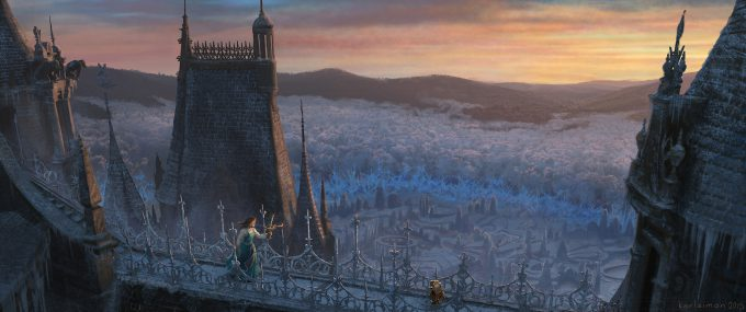 Beauty and the Beast Concept Art Disney Karlsimon Sunset roof walk 02 L