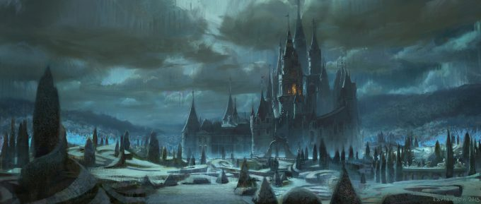 Beauty and the Beast Concept Art Disney Karlsimon castle exterior 04 L