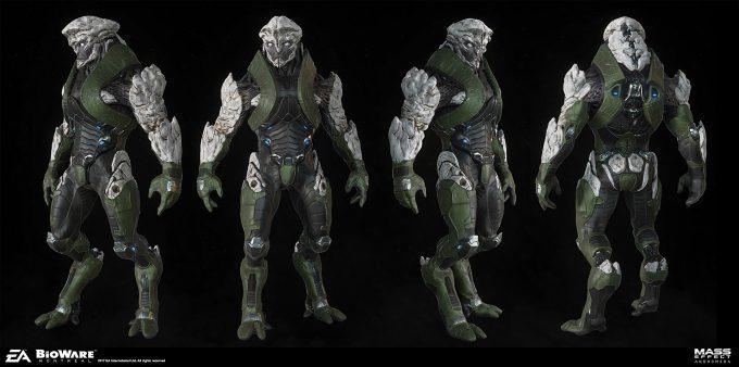 Mass Effect Andromeda Concept Art furio tedeschi khet ang exa armor render