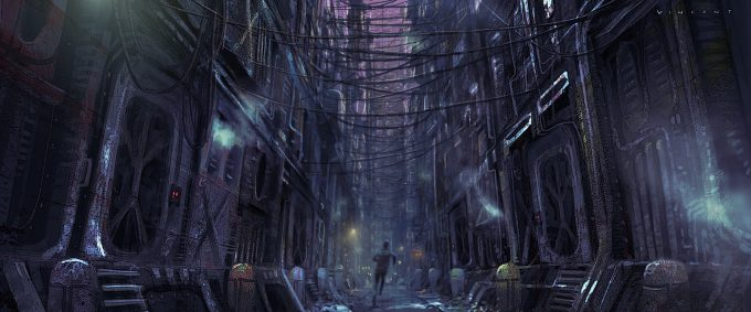 Star Wars Rogue One Concept Art Vincent Jenkins ALLEY PLANET Night 01