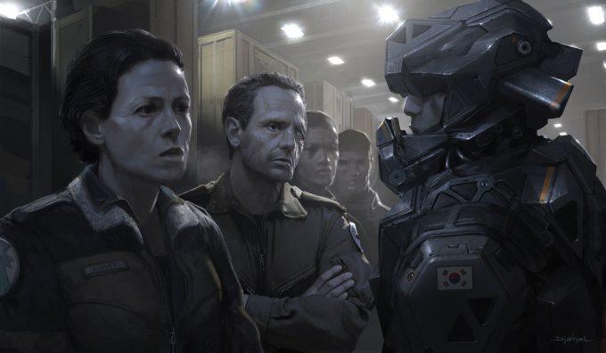 Alien 5 Concept Art Neill Blomkamp Film Project Geoffroy Thoorens Mercenaries