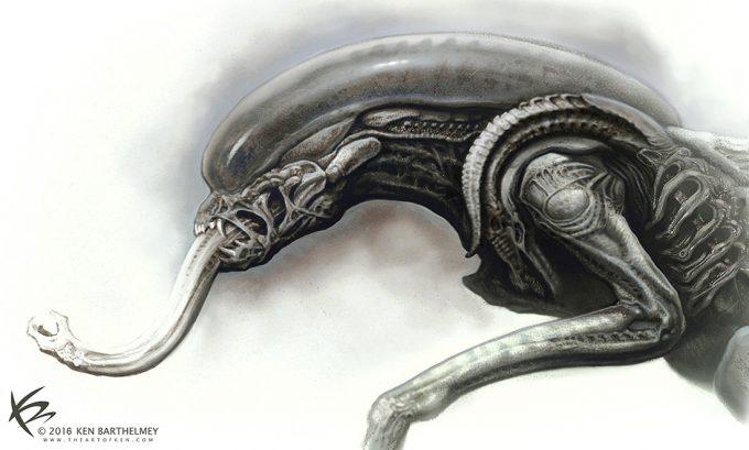 Alien Franchise Concept Fan Art 01 Ken Barthelmey Alien Redesign