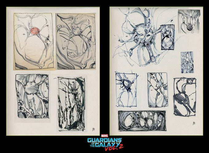guardians of the galaxy vol 2 concept art john jd dickenson early sketches 1 egos self chamber