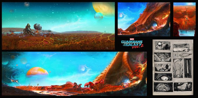 guardians of the galaxy vol 2 concept art john jd dickenson gamora chase seq nebula ego ext