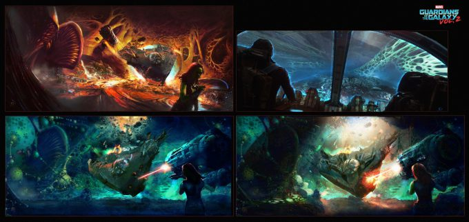 guardians of the galaxy vol 2 concept art john jd dickenson gamora chase seq nebula ego int