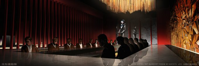 Ghost in the Shell concept art j bach INT MiraHotel BanquetRoom W Guests Sketch 1 v01