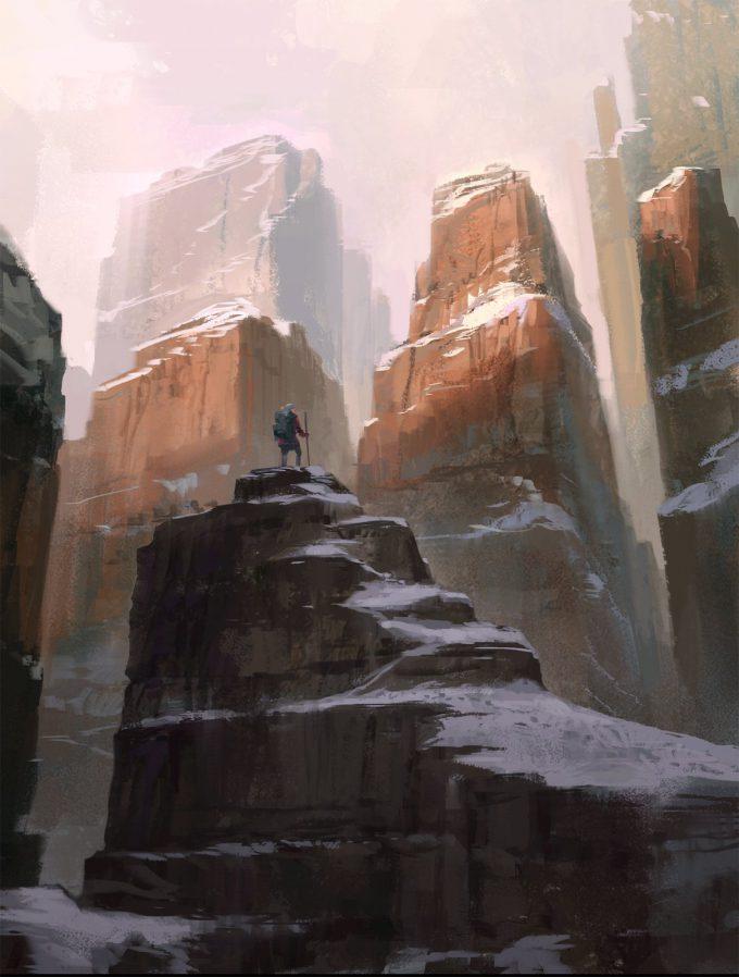 jakub javora concept art mountains sketch