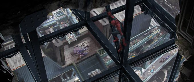 spider man homecoming concept art andrew leung dodc rafters 03