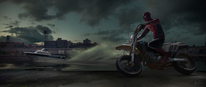 spider man homecoming concept art andrew leung drug boat chase 02