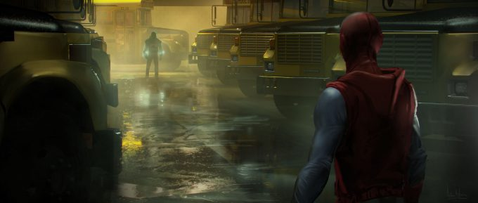 spider man homecoming concept art andrew leung school bus depot 02