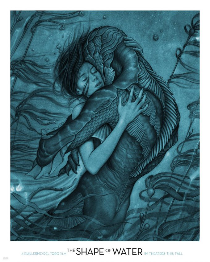 the shape of water guillermo del torro film art illustration poster james jean