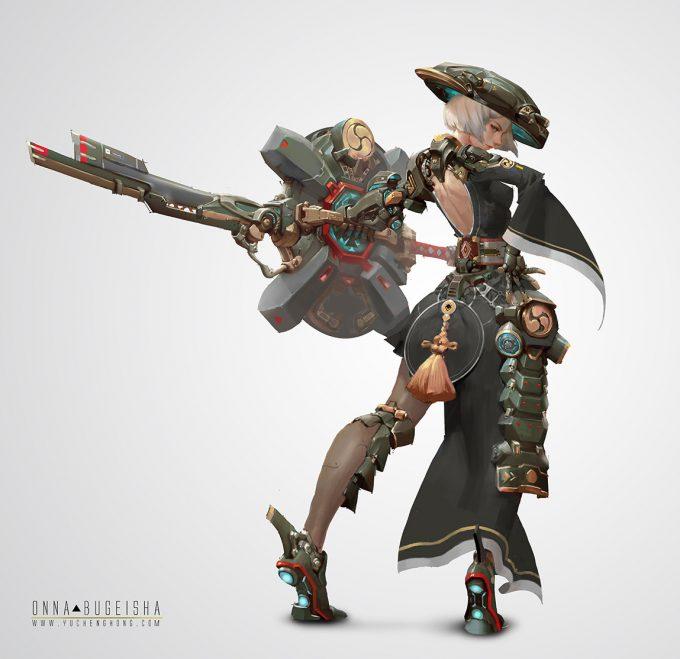 yu cheng hong character design concept art onnabugeisha black