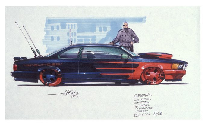 Back to the Future Part 2 concept art illustration John Bell Studio Griff BMW