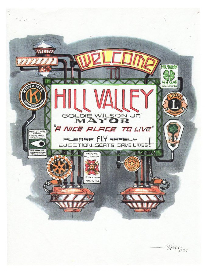 Back to the Future Part 2 concept art illustration John Bell Studio Hill Valley sign