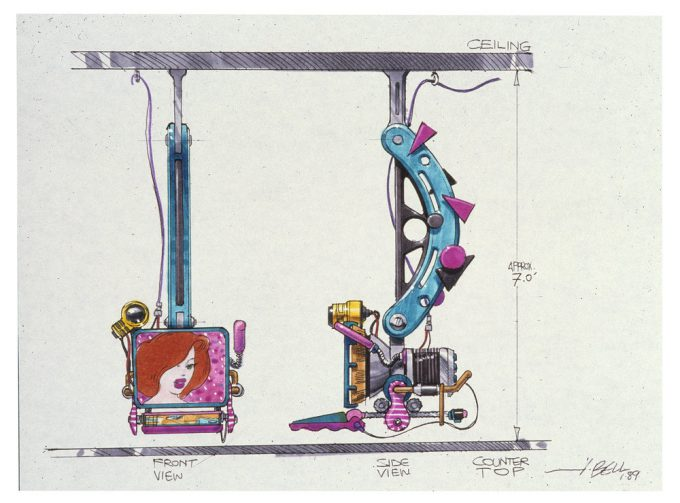 Back to the Future Part 2 concept art illustration John Bell Studio cafe 80s 2