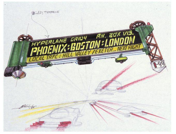 Back to the Future Part 2 concept art illustration John Bell Studio traffic board
