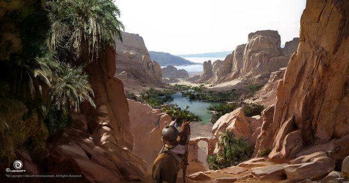 Assassins Creed Origins Concept Art Martin Deschambault aco red mountain oasis