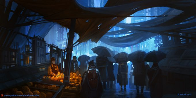 Blade Runner Inspired concept art illustrations 01 andreas rocha fresh oranges with serial numbers