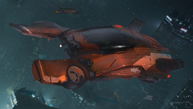 Blade Runner Inspired concept art illustrations 01 colie wertz spinner painting