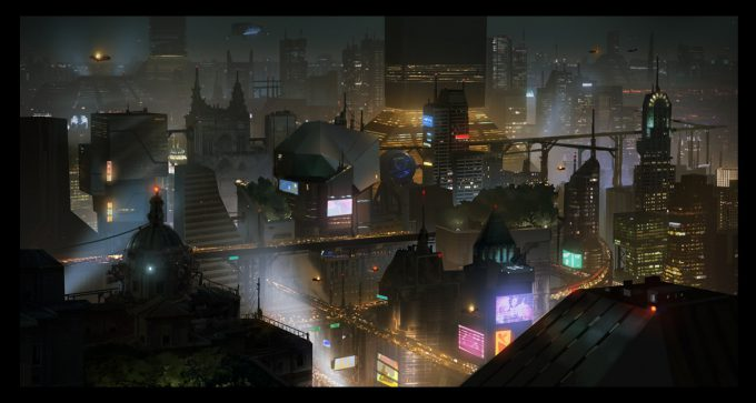 Blade Runner Inspired concept art illustrations 01 tony holmsten future cityview