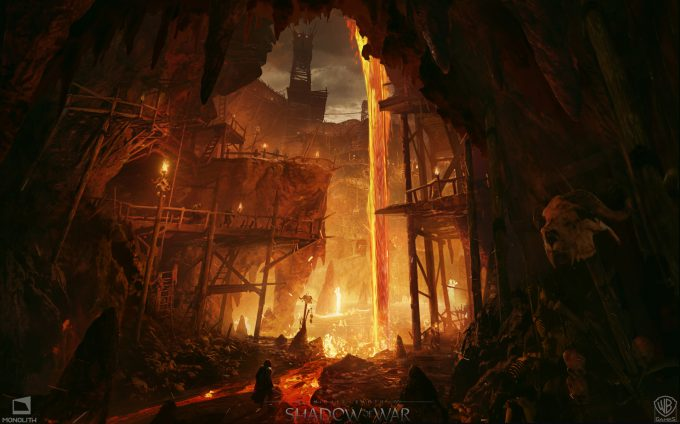 Middle earth Shadow of War Concept Art george rushing balrog pit lower