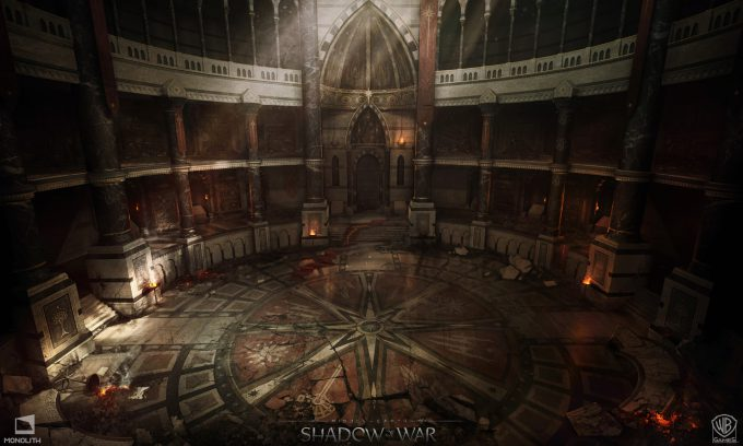 Middle earth Shadow of War Concept Art george rushing great hall destroyed