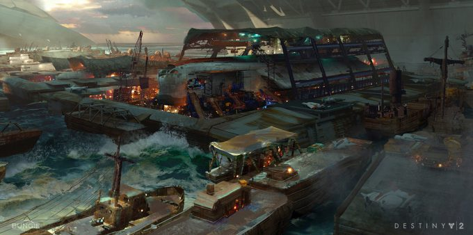destiny 2 concept art sung choi fleet view destiny 2