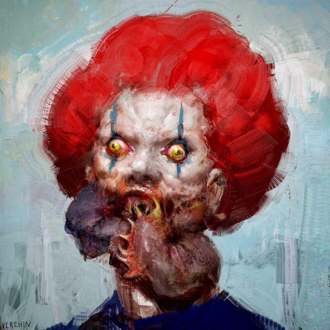 maxim verehin art illustration clown horror