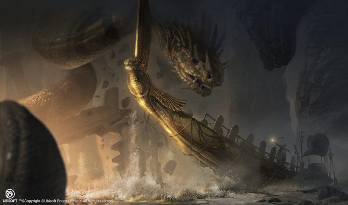 Assassins Creed Origins Concept Art Eddie Bennun ace env duat openocean fight 1