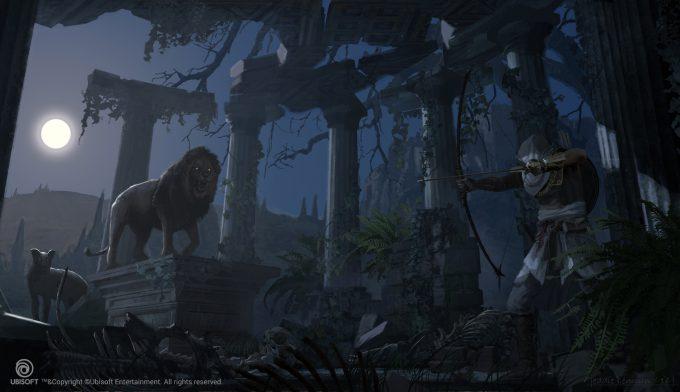 Assassins Creed Origins Concept Art Eddie Bennun ace env lion den inruins 1
