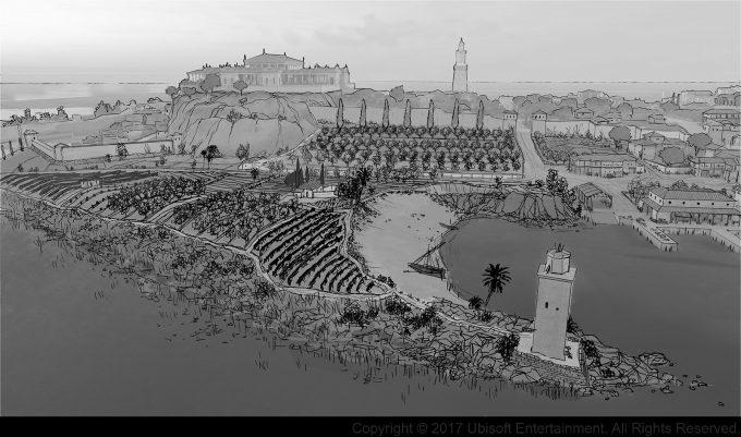 Assassins Creed Origins Concept Art Gilles Beloeil alexandrie port lacustre left side